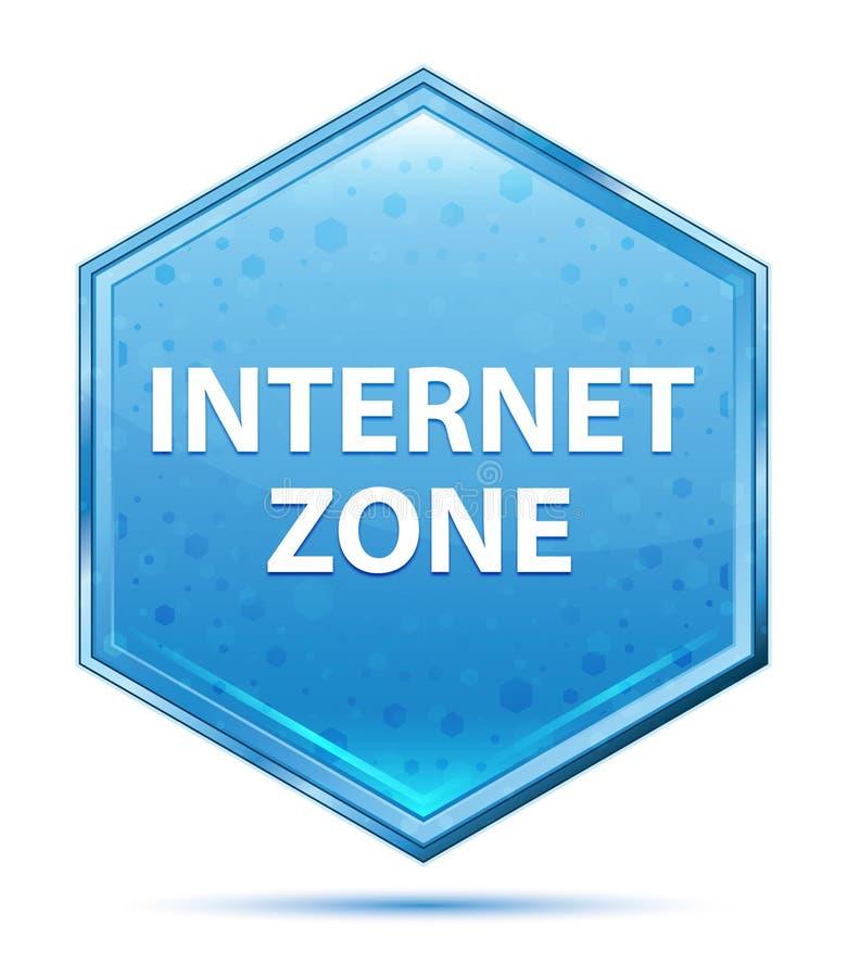 Blauer Hexagonkristallknopf der Internet-Zone stock abbildung