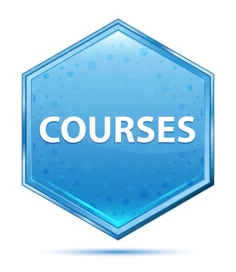 Blauer Hexagonkristallknopf der Kurse stock abbildung