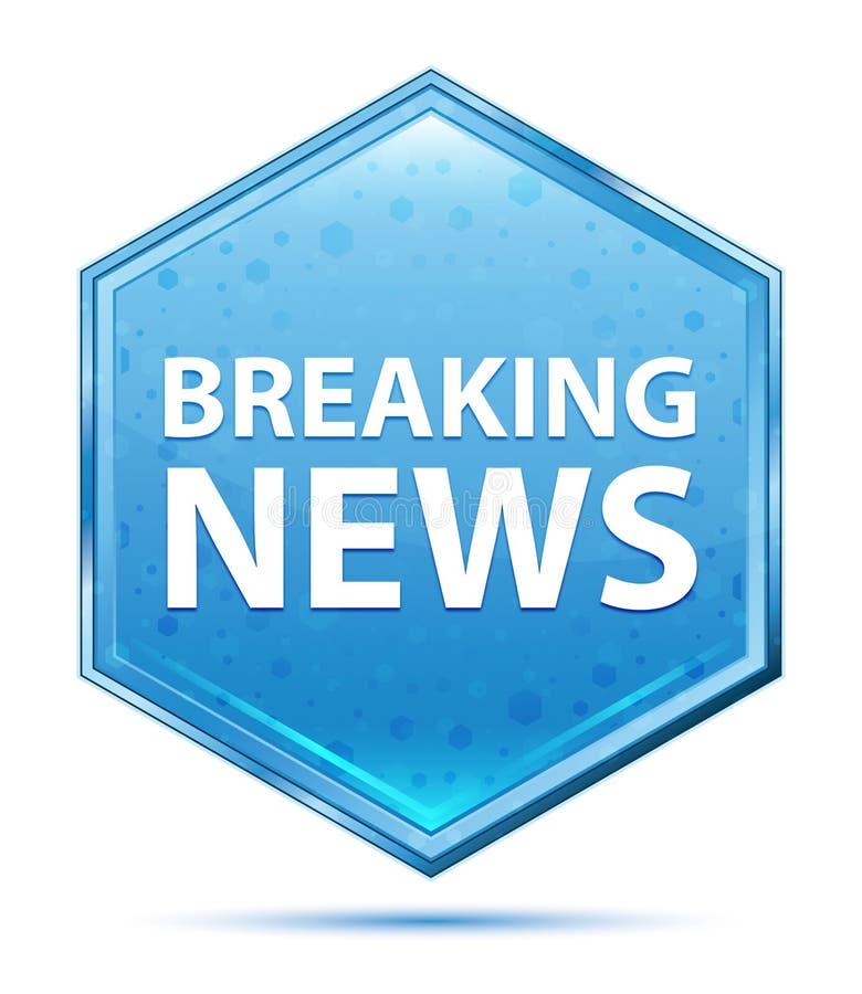Blauer Hexagonkristallknopf der letzten Nachrichten lizenzfreie abbildung