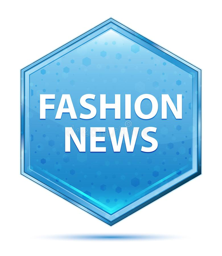 Blauer Hexagonkristallknopf der Mode-Nachrichten vektor abbildung
