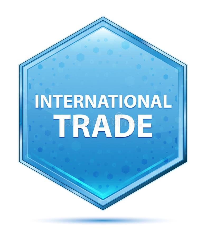 Blauer Hexagonkristallknopf des internationalen Handels vektor abbildung