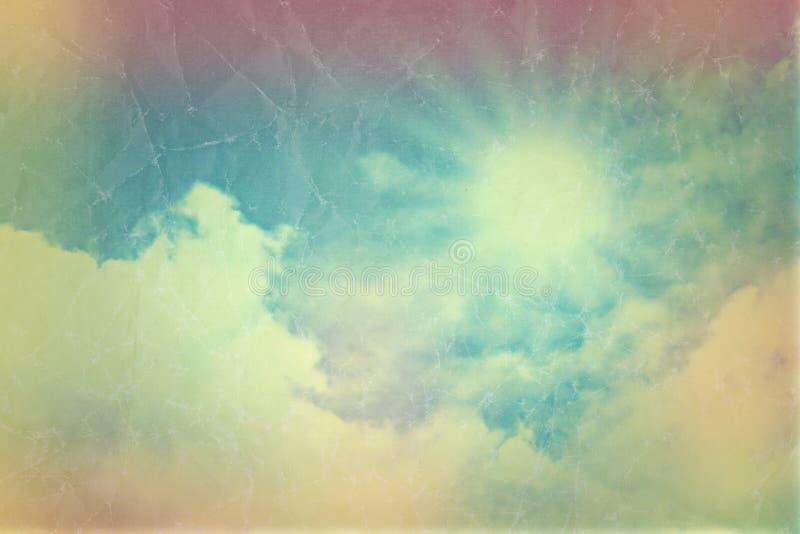 Blauer Himmel der Weinlese mit Wolken mit Retro- Effekt stock abbildung