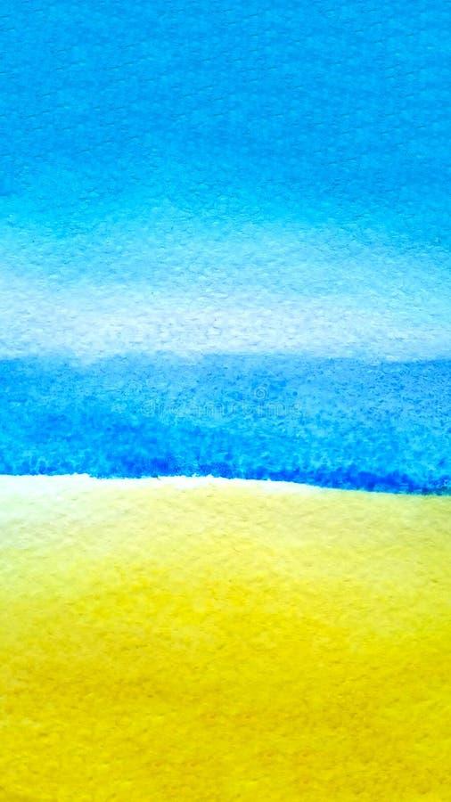 Blauer Himmel des Aquarellzusammenfassungshintergrundes, überseeisches Seeozeanwasser und gelber ockerhaltiger Sand mit Kopienrau stockbilder