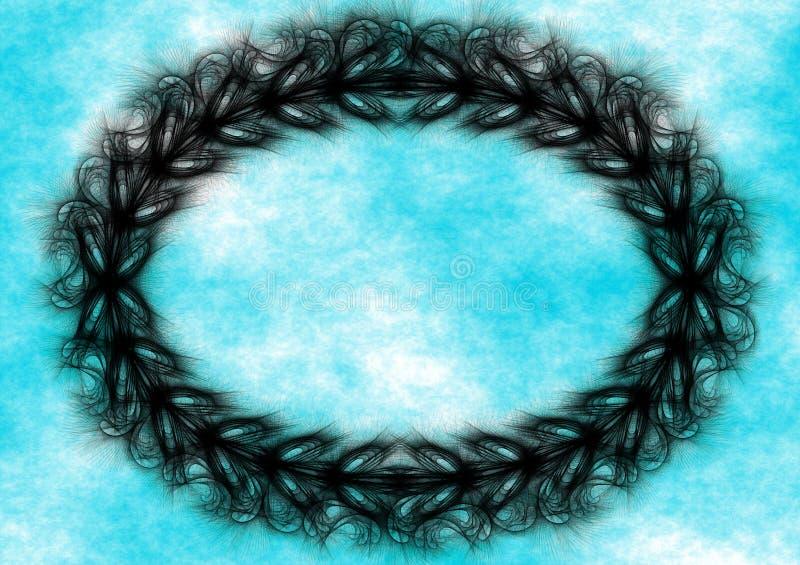 Blauer Himmel des schwarzen Kranzgrenzrahmens stock abbildung