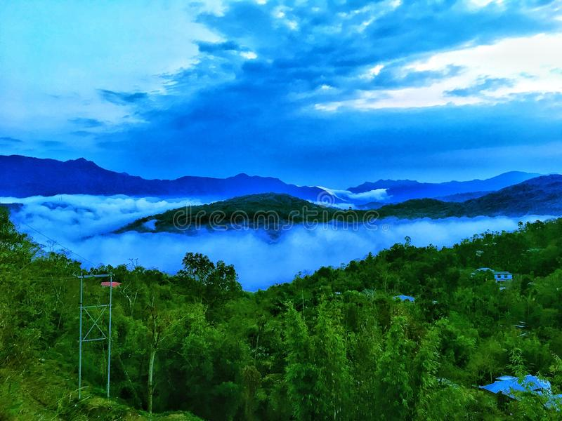 Blauer Himmel grüßt die Natur stockbilder
