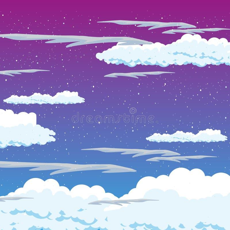Blauer Himmel mit Wolke Hintergrund-Vektor Natürliche Kunst des Sommerschönheitslichtes Farb Flaumiges Klimawetter der Natur Abst vektor abbildung