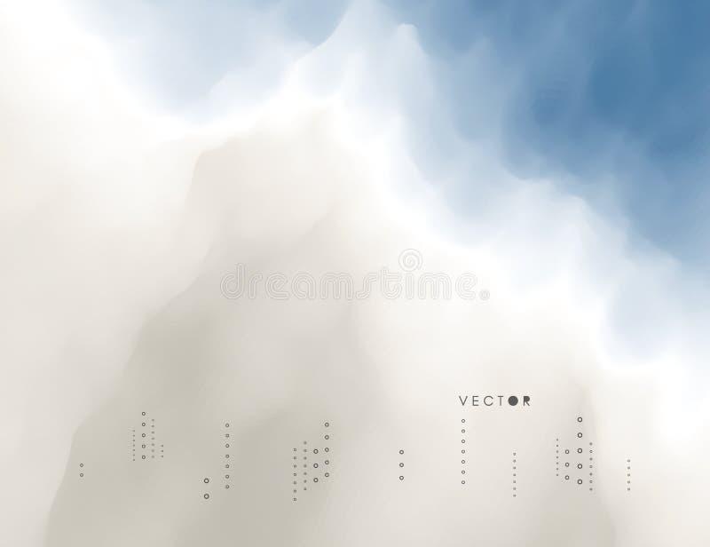 Blauer Himmel mit Wolken Modernes Muster Feld des grünen Grases gegen einen blauen Himmel mit wispy weißen Wolken Modernes Muster stock abbildung