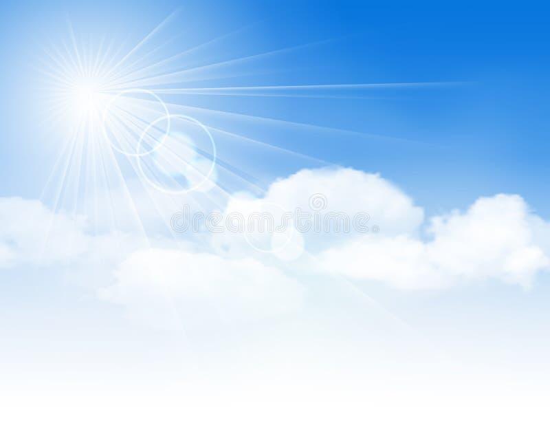 Blauer Himmel mit Wolken und Sonne lizenzfreie abbildung