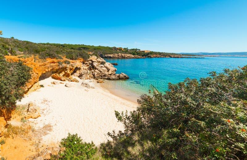Blauer Himmel und blaues Meer in einer kleinen Bucht an der Küste von Alghero stockfoto