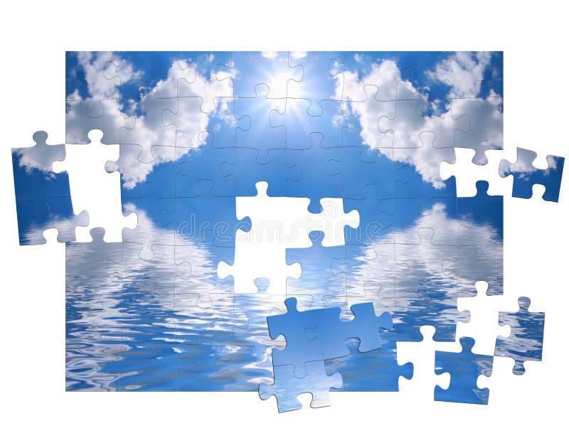 Blauer Himmel und des Puzzlespiels lizenzfreie abbildung