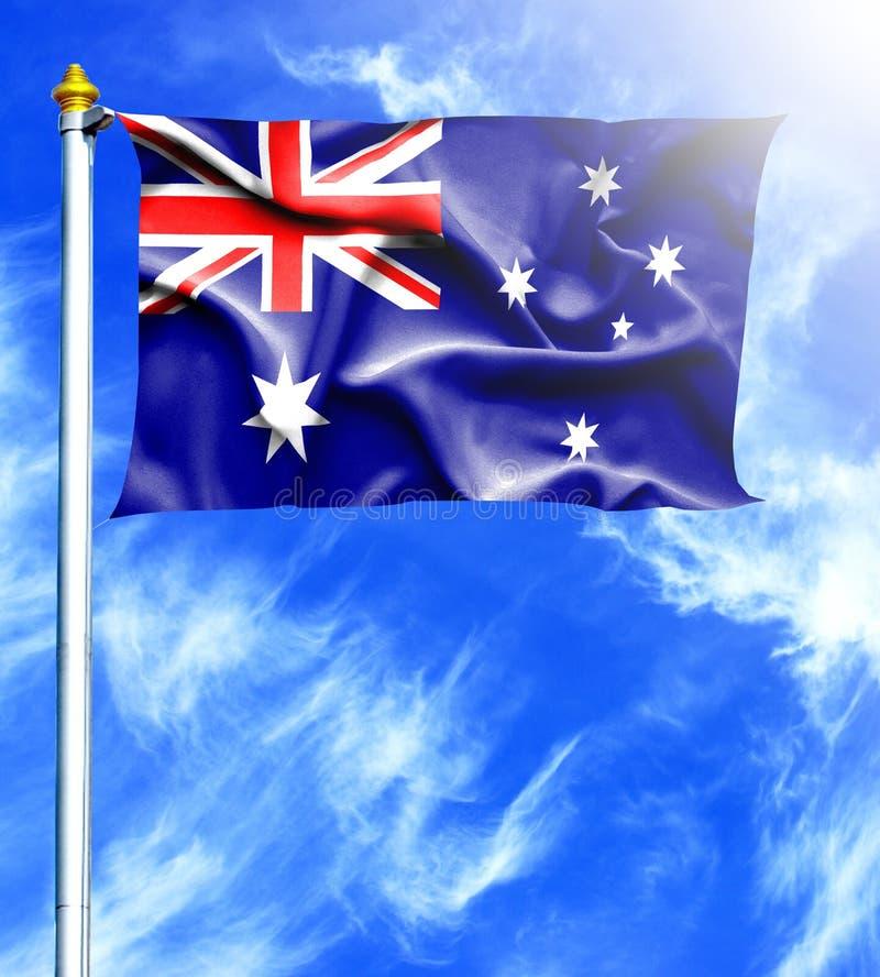 Blauer Himmel und Mast mit gehangener wellenartig bewegender Flagge von Australien lizenzfreie abbildung