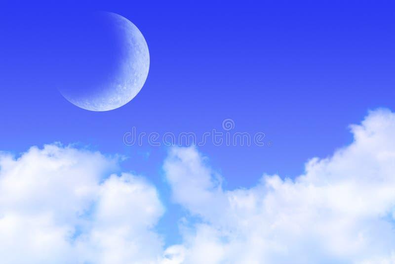 Blauer Himmel-Wolken und Mond stock abbildung