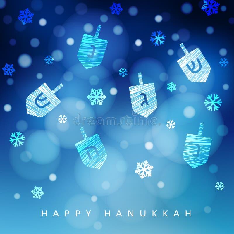 Blauer Hintergrund Chanukkas mit fallendem Schnee, Licht und dreidels Moderne festliche unscharfe Vektorillustration für jüdische