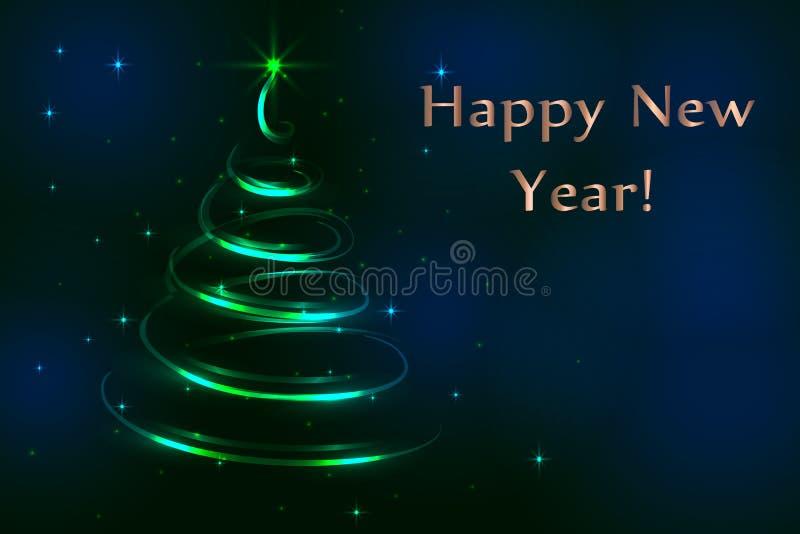 Blauer Hintergrund der Abstraktion, Weihnachtsfestlicher Tannenbaum, neue Jastimme lizenzfreie abbildung