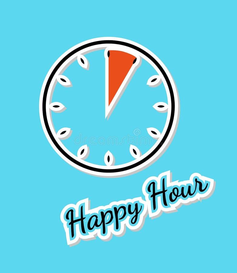 Blauer Hintergrund der glücklichen Stunde mit Uhr stock abbildung