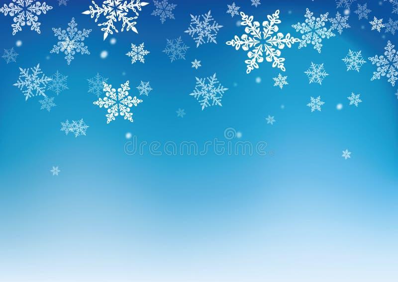 Blauer Hintergrund der Schneeflocken für Winter und christma vektor abbildung