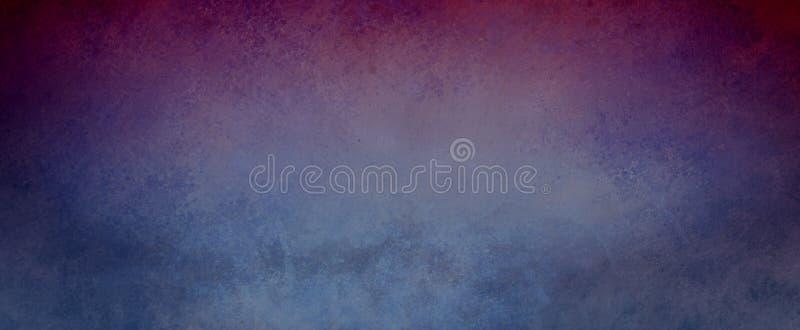 Blauer Hintergrund der Weinlese mit purpurroter Grenze und beunruhigter Schmutzbeschaffenheit, alter eleganter dunkler Steigungsh lizenzfreies stockbild