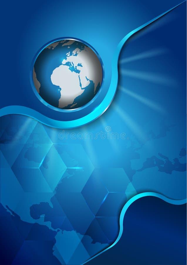 Blauer Hintergrund des abstrakten Vektors mit Kontinenten und Kugel lizenzfreie abbildung