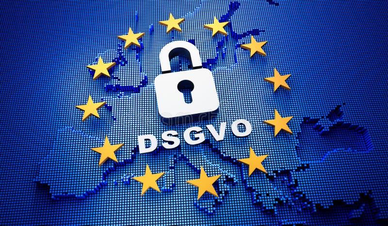 Blauer Hintergrund des Europa DSGVO - Illustration 3D lizenzfreie abbildung