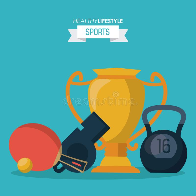 Blauer Hintergrund des gesunden Lebensstilsports mit Trophäe und kettlebell und Pfeife und Klingeln pong Schläger lizenzfreie abbildung