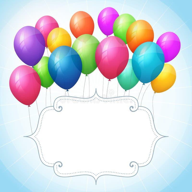 Blauer Hintergrund des leeren Geburtstages mit bunten Ballonen lizenzfreie abbildung