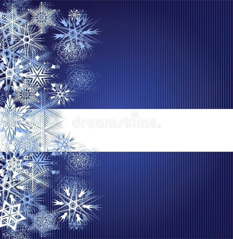 Blauer Hintergrund des Winters mit Schneeflocken vektor abbildung
