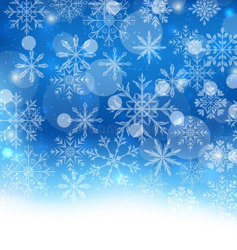 Blauer Hintergrund des Winters mit Schneeflocken lizenzfreie abbildung