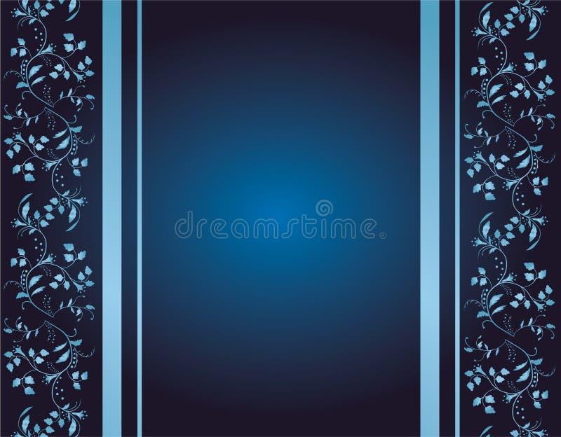 Blauer Hintergrund mit Blumenverzierungen lizenzfreie abbildung