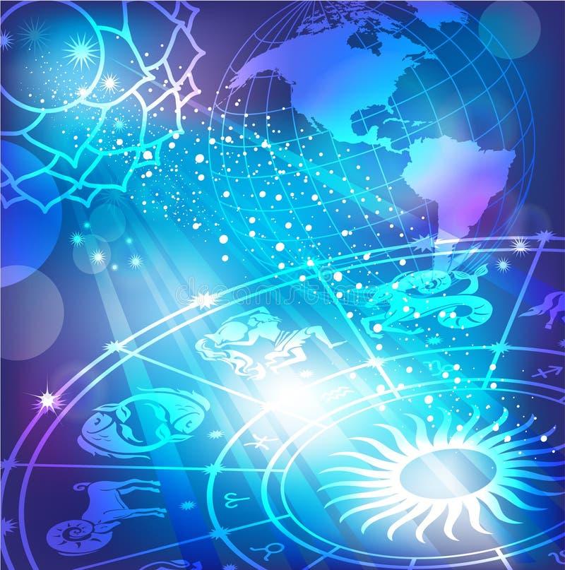 Blauer Hintergrund mit einem Horoskop lizenzfreie abbildung