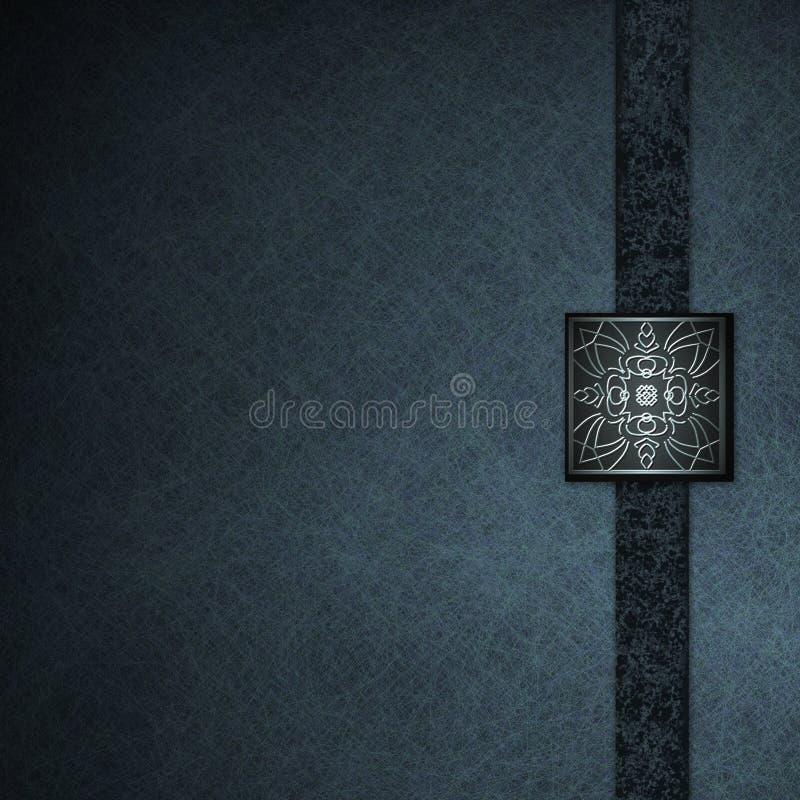 Blauer Hintergrund mit eleganter geprägter Dichtung stock abbildung