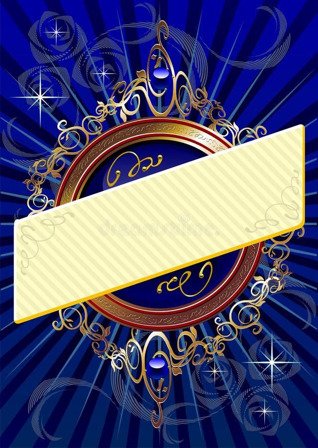 Blauer Hintergrund mit Fahne lizenzfreie abbildung