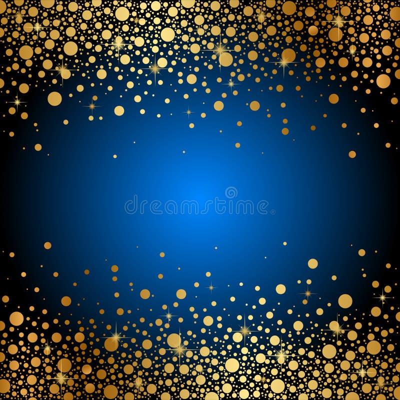 Blauer Hintergrund mit Goldscheinen vektor abbildung