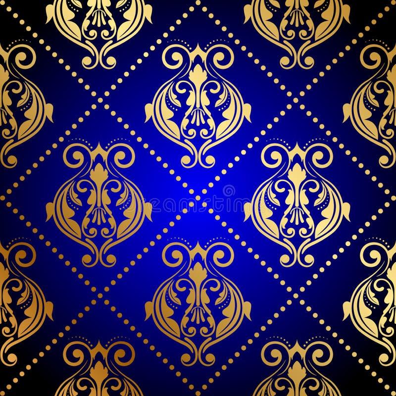 Blauer Hintergrund mit Luxusgoldverzierung vektor abbildung