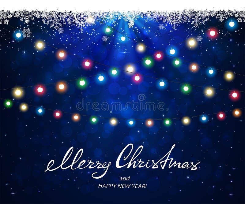 Blauer Hintergrund mit Schneeflocken und Weihnachtslichtern vektor abbildung