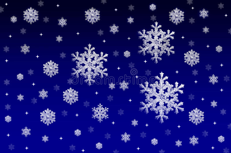 Blauer Hintergrund mit Schneekristallen stockbilder