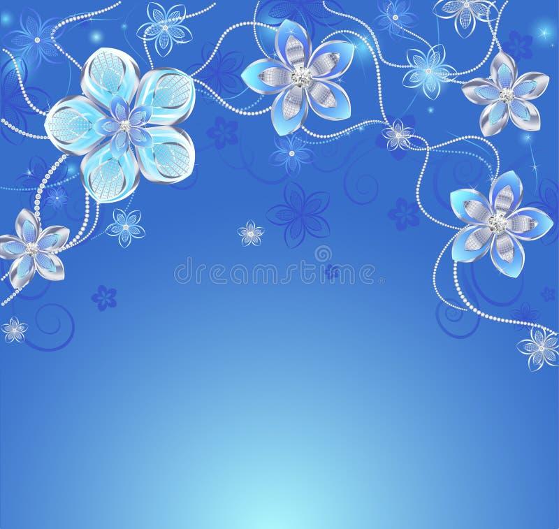 Blauer Hintergrund mit silbernen Blumen