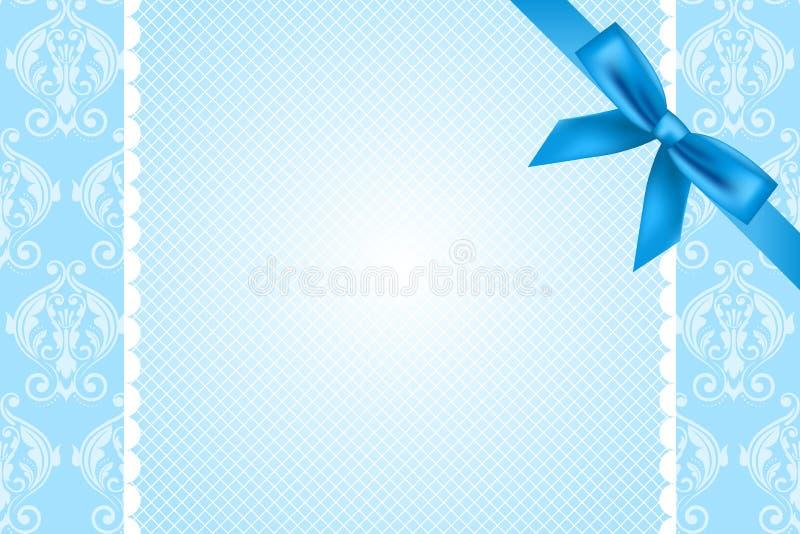 Blauer Hintergrund mit Spitze und Bogen vektor abbildung