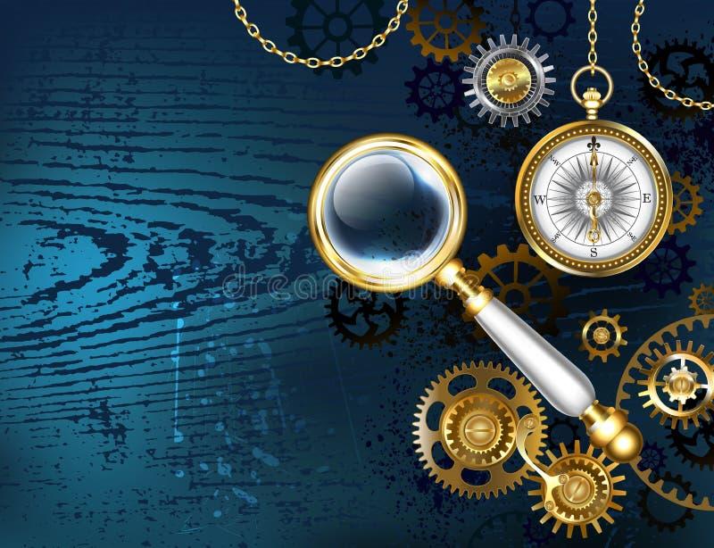 Blauer Hintergrund mit Vergrößerungsglas Steampunk-Hintergrund lizenzfreie abbildung