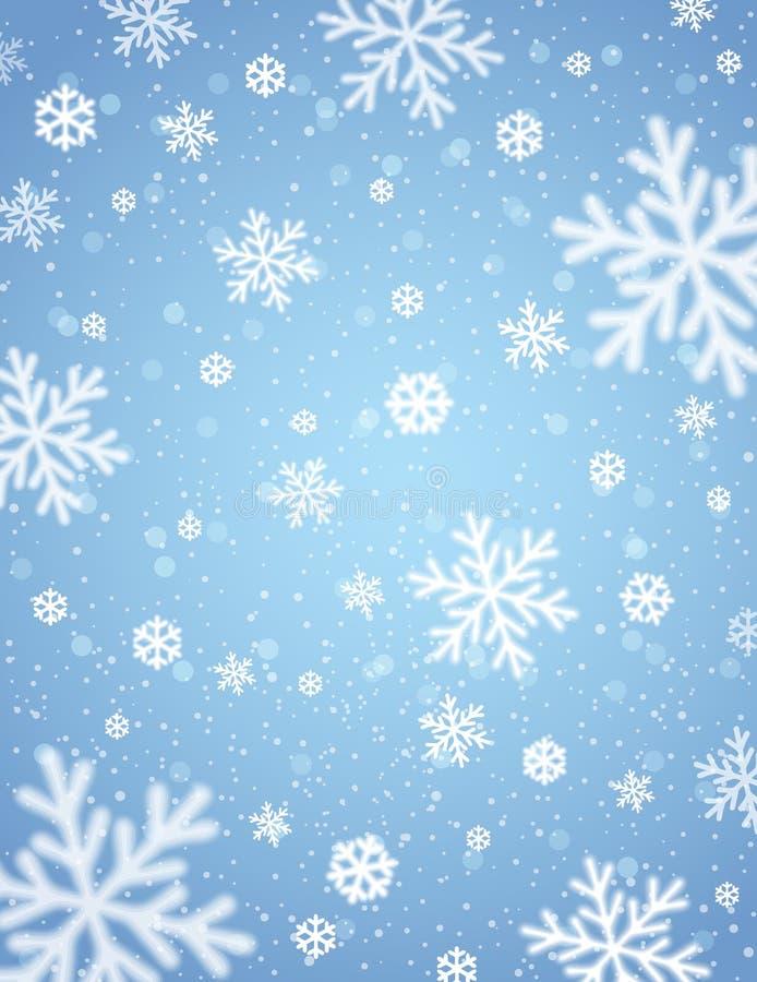 Blauer Hintergrund mit Weiß verwischte Schneeflocken, Vektor stock abbildung
