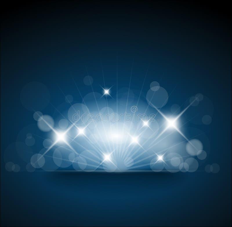Blauer Hintergrund mit weißen Leuchten vektor abbildung