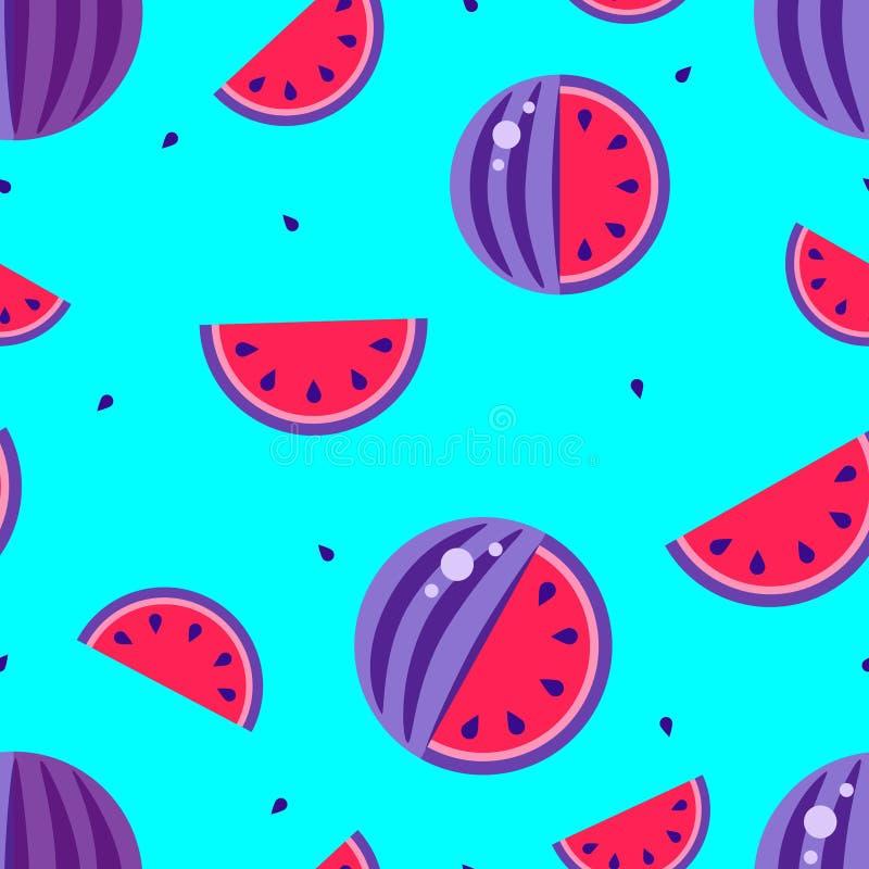 Blauer Hintergrund roten Musters Warermelon nahtlosen 3. August internationaler Wassermelonentagesplakatdruck Violette Frucht sch vektor abbildung