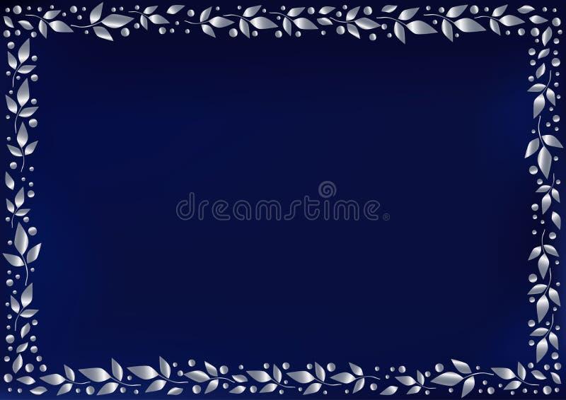 Blauer Hintergrund stilisierte als blauer Samt mit dekorativem Rahmen von Blattsilber und von Punkten vektor abbildung