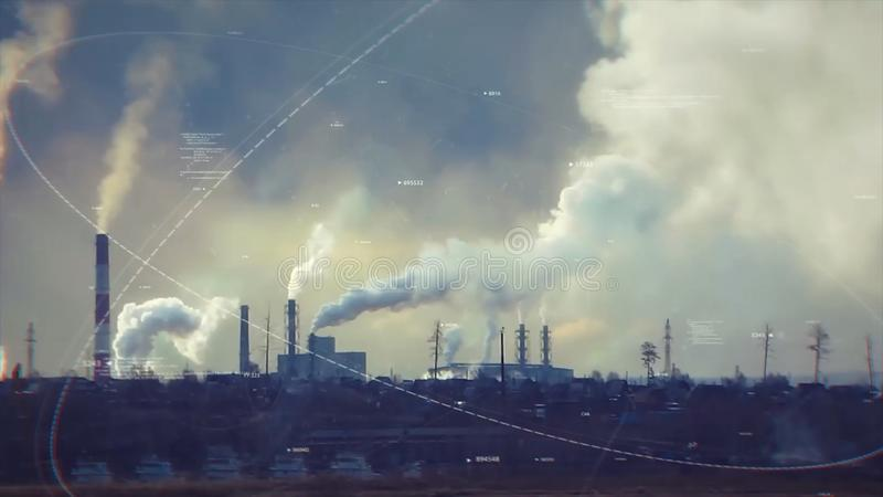 Blauer Hintergrund Umweltfragen ablage Schädliche Emissionen Fabrikschornstein, Emissionen zur Umwelt falsch stockbild