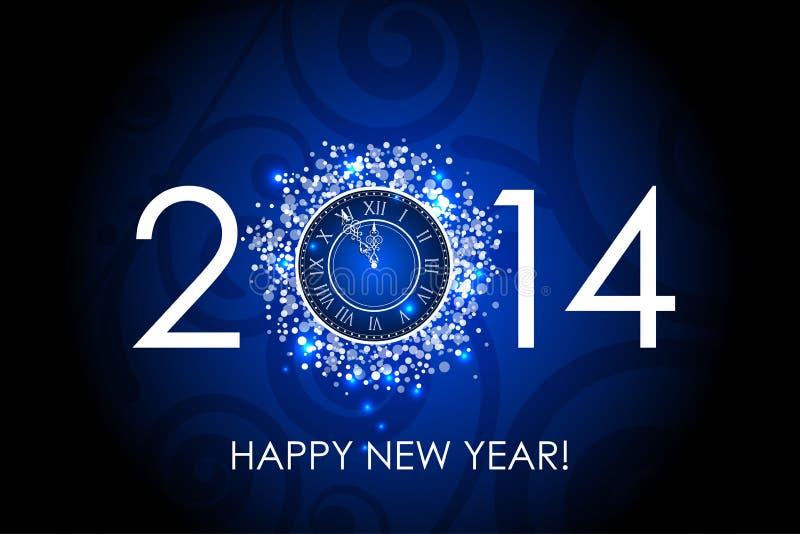 Blauer Hintergrund von 2014 guten Rutsch ins Neue Jahr mit Uhr vektor abbildung