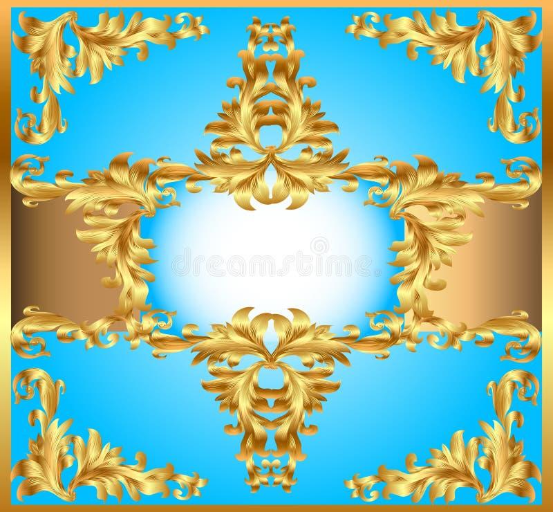 Blauer Hintergrundgemälderahmen, mit Verzierungen des Goldes vektor abbildung