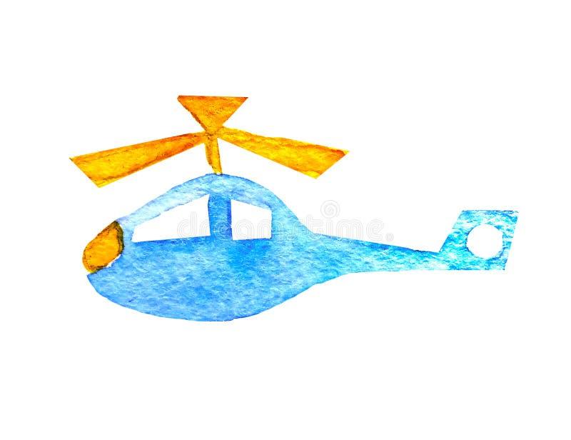 Blauer Hubschrauber des Aquarells mit einem gelben Propeller in einer einfachen Art der Karikatur der Kinder auf einem weißen Hin lizenzfreie abbildung