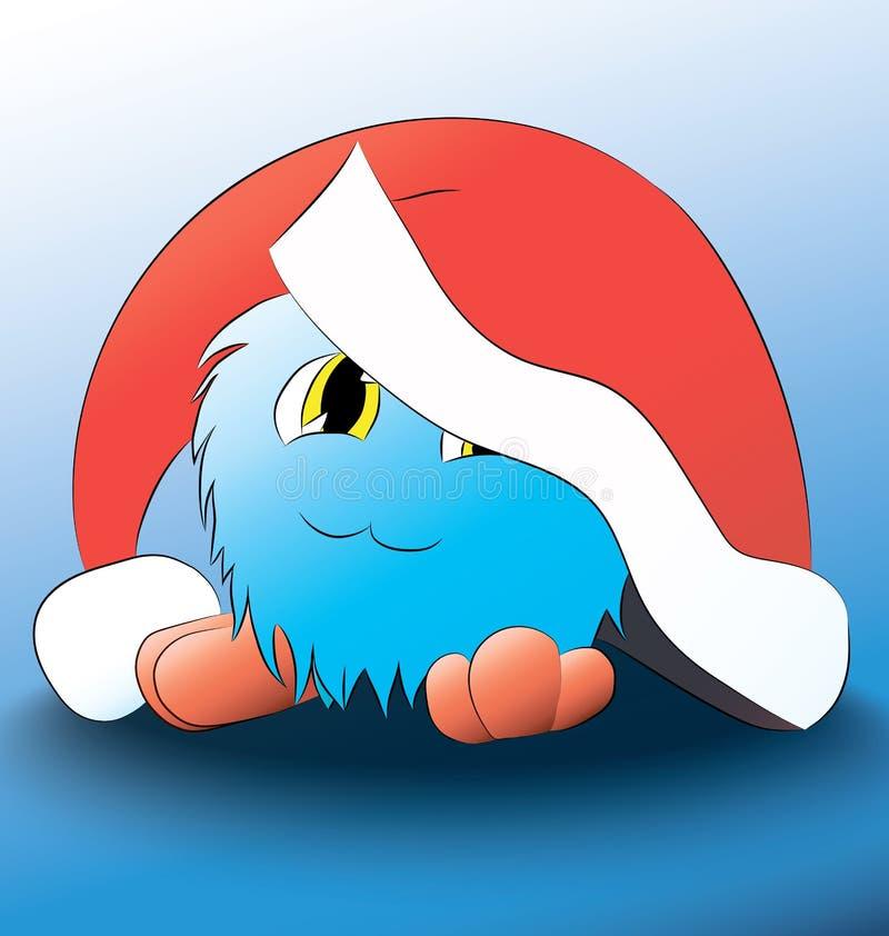 Blauer Hut der netten Karikatur des Monsters Weihnachts vektor abbildung