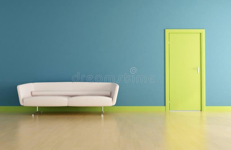 Blauer Innenraum mit grüner Tür stock abbildung