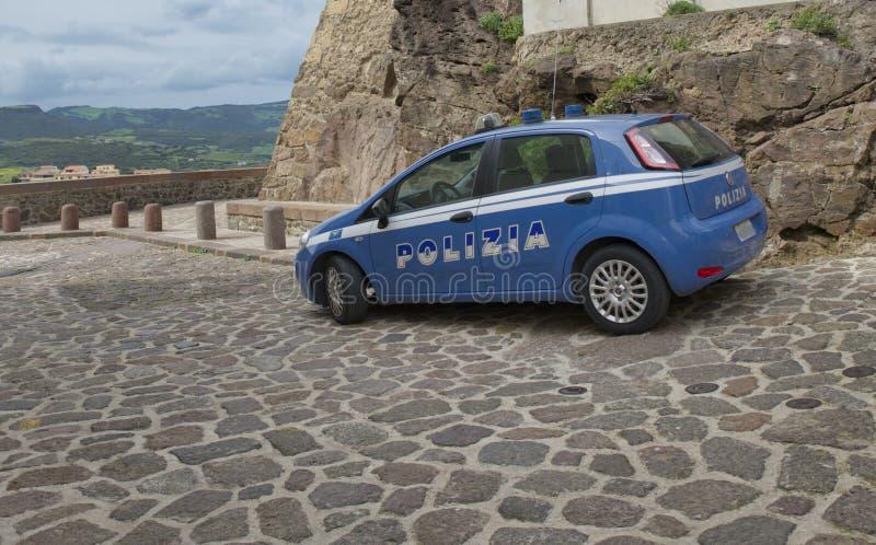 Blauer italienischer Polizeiwagen lizenzfreies stockbild