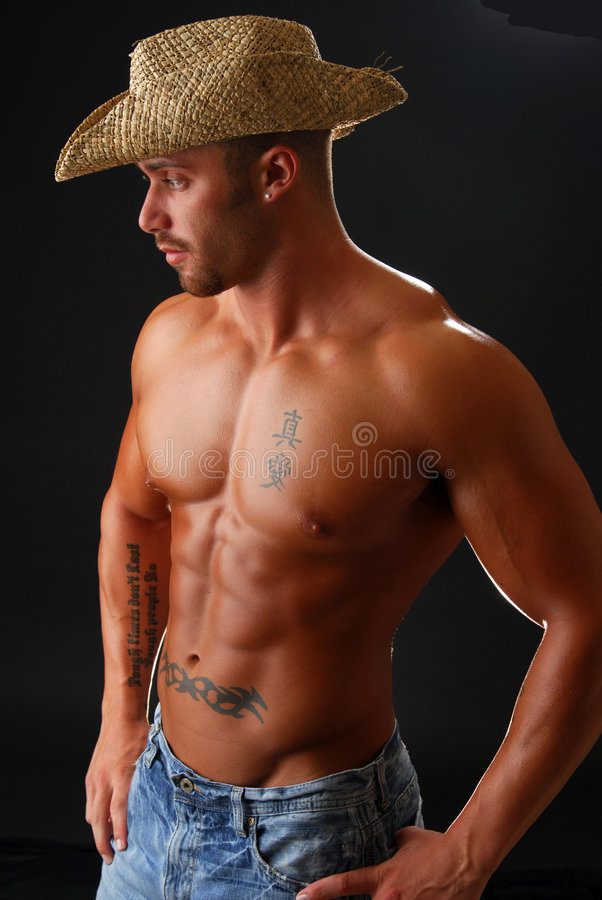 Blauer Jean-Cowboy lizenzfreies stockbild